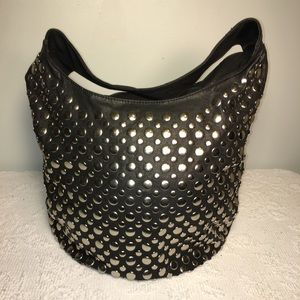 LaTique Silver-Stud Embossed Hobo Handbag